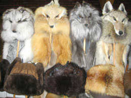 Fox fur hats with floppy ears